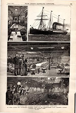"""ENGRAVING: """"An Ocean Palace--The Magnificent Steamship 'Lahn'"""" .engraving from ..."""