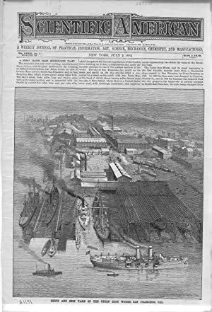 PRINT: 'Shops & Ship Yard of the Union Iron Works, San Francisco'.engraving frm ...
