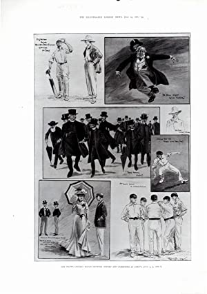 PRINT:'The Drawn Cricket Match Between Oxford and Cambridge at Lords'.from Illustrated ...