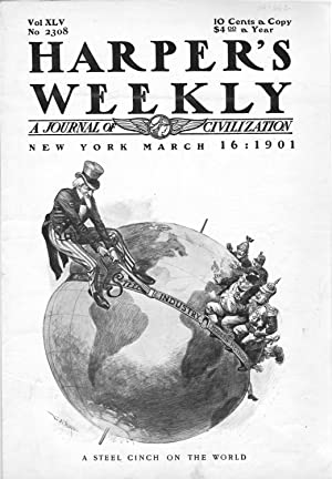 ENGRAVING: 'A Steel Cinch On the World'.engraving from . Harper's Weekly, March 16, ...