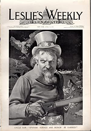 Engraving: 'Uncle Sam--'Spanish Justice and Honor Be Damned'.from Frank Leslie's ...