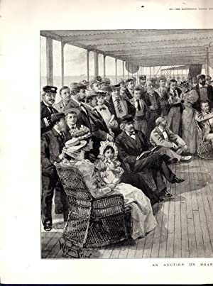 """ENGRAVING: """"An Auction on Board a Cape Liner"""".double Page Engraving from The Illustrated ..."""