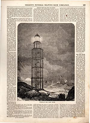 PRINT:'Dominican Iron Light House' story & engraving. from the Gleason's Pictorial...