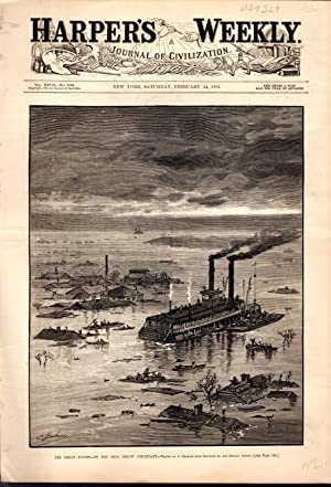 ENGRAVING: 'The Great Floods--On the Ohio, Below Cincinnati'.engraving from Harper's...