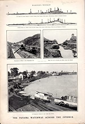 PHOTOENGRAVING: 'The Panama Waterway Across the Isthmus' .photos from Harper's Weekly, ...