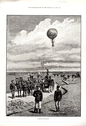 ENGRAVING: 'A German War-Balloon' '.engraving from The Illustrated News of the World...