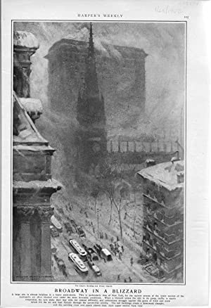 ENGRAVING: ' Broadway in a Blizzard'.engraving from Harper's Weekly, January 25, ...