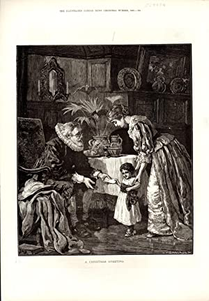 ENGRAVNG: 'A Christmas Greeting'. engraving from The Illustrated News of the World, ...