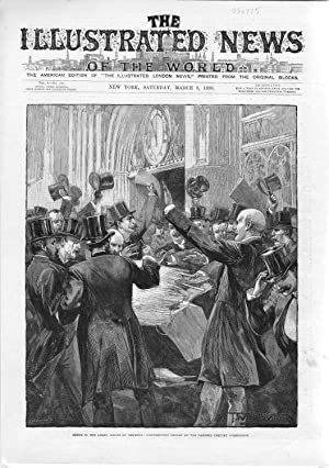 ENGRAVING: 'Scene in the Lobby: House of Commons'.from The Illustrated News of the World,...