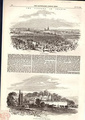 ENGRAVING:'The Vintage in France' .from the Illustrated London News October 21, 1854: ...