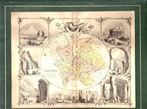 """MAP: """"Roma Vetus"""".map of Rome (center) & engravings of famous world sites surrounding..."""