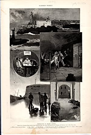 ENGRAVING: 'Imprisoned in Morro Castle' .engraving from Harper's Weekly July 18, ...