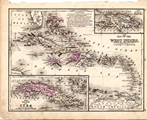 MAP: West Indies, including the Island of Cuba (#XXI.from Mitchell's Modern Atlas): Mitchell, S...