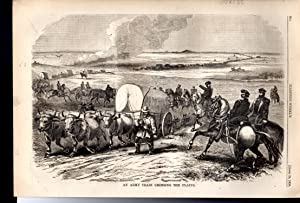 ENGRAVING: 'An Army Train Crossing the Plains' .engraving in Harper's Weekly, April,...