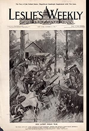 """ENGRAVING: """"Our Latest Indian War"""". engraving from Leslie's Weekly, October 27, 1898..."""