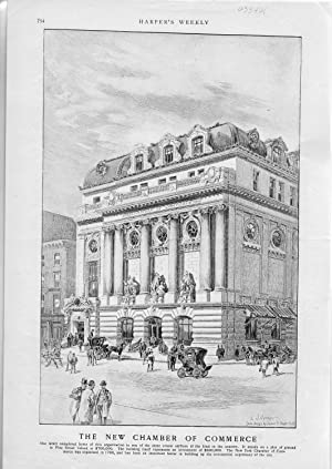 """ENGRAVING: """"New Chamber of Commerce'.engraving disbound from Harper's Weekly, June ..."""