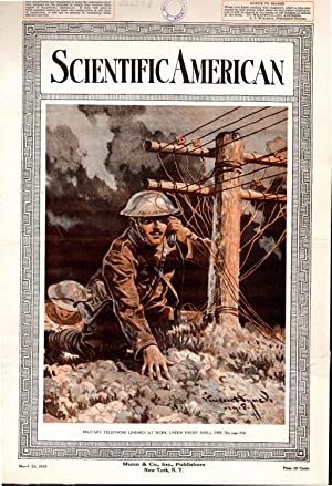 "PRINT: ""Military Telephone Linemen At Work Under Enemy Shell Fire"".from Scientific American..."