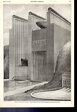 """ENGRAVING: """"Lifting Ocean Liners Up to Lake Erie"""". engraving from Scientific American, ..."""