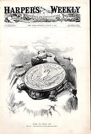 ENGRAVING:'Time to Shut Up'. engraving from Harper's Weekly, August 31,1895: Harper's ...