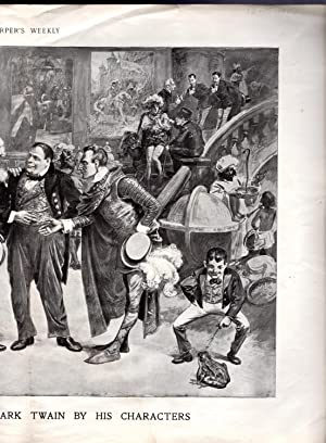 """ENGRAVING: """"A Surprise Party to Mark Twain By His Characters"""". engraving from Harper's ..."""