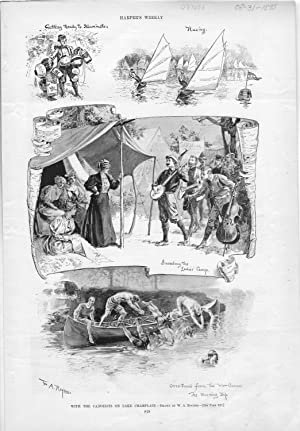 """ENGRAVING: """"With the Canoeists on Lake Champlain"""".engraving from Harper's Weekly, ..."""