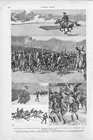 """ENGRAVING: """" Sham Battle and Review of: Harper's Weekly"""