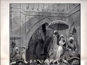 """ENGRAVING: """"The Viceroy's Entry Into Dehli: Lord and Lady Curzon and the Duke and Duchess..."""