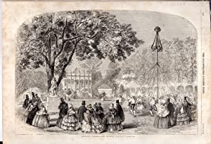 """ENGRAVING:""""Cremorne Gardens--The Maypole Dance"""" .engraving from the: Illustrated London News"""