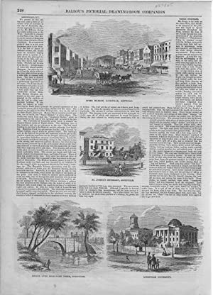 PRINT: 'Louisville, KY' .text & engravings from Ballou's Pictorial, October 18, ...