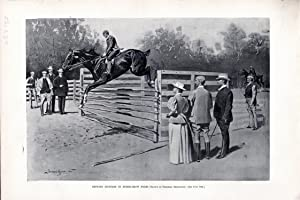 """ENGRAVING: """"Getting Hunters in Horse-show Form"""" .engraving from Harper's Weekly, ..."""