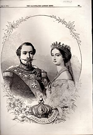 """ENGRAVING: """"Napoleon & Eugenie"""".from The Illustated London News, April 21, 1855: ..."""