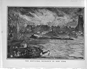 """ENGRAVING: """"The Soft-Coal Nuisance in New York"""".engraving from Harper's Weekly, ..."""