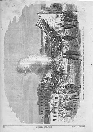 """ENGRAVING: """"Explosion at Ames & Moulton's Hat Factory, Brooklyn, New York, on ..."""