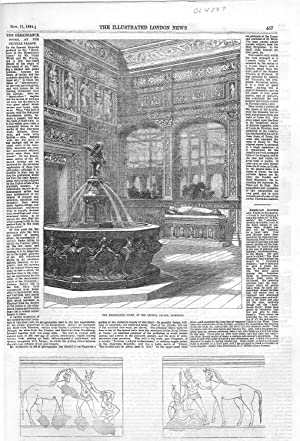 """ENGRAVING: """"The Renaissance Court at The Crystal: Illustrated London News"""