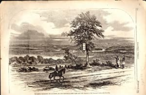 """ENGRAVING: """"The Rebels Destroying the Baltimore and Ohio Railroad, as Seen from Fair View""""...."""
