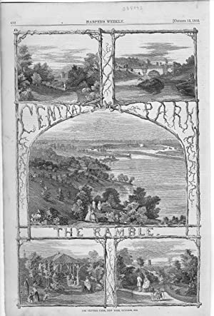 ENGRAVING: 'The Central Park, New York' .engraving from Harper's Weekly, October 13,...