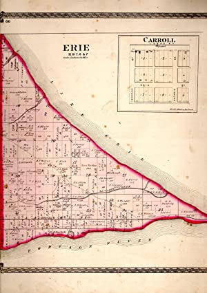 "MAP: ""Erie & Carroll, Ohio (Lake Erie, Ohio)"".from Illustrated Historical Atlas of ..."