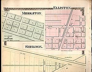 """MAP: """"Middleton, Elliston, and Sheldon, Ohio (Lake Erie, Ohio)"""".from Illustrated Historical..."""