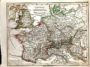 """MAP: """"Gallia, Germania, Britannia"""".from Orbis Terrarum Antiquus: D'anville, Mannert, Ukert,"""