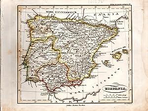 """MAP: """"Hispania"""".from Orbis Terrarum Antiquus Schul-Atlas De: D'anville, Mannert, Ukert,"""