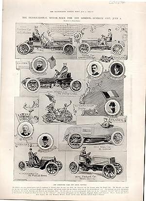 "ENGRAVING: ""The International Motor-Race for the Gordon-Bennett Cup, July 2"" .engravings ..."