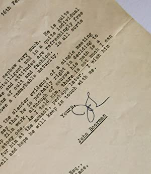 Typed letter signed to Harry Reader, 1966: BOORMAN (John)
