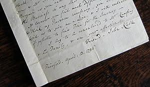 Autograph letter from John Keble the elder: KEBLE (John)
