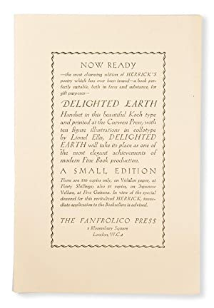 FANFROLICO PRESS] Delighted earth (Now ready notice): HERRICK, Robert; ELLIS,