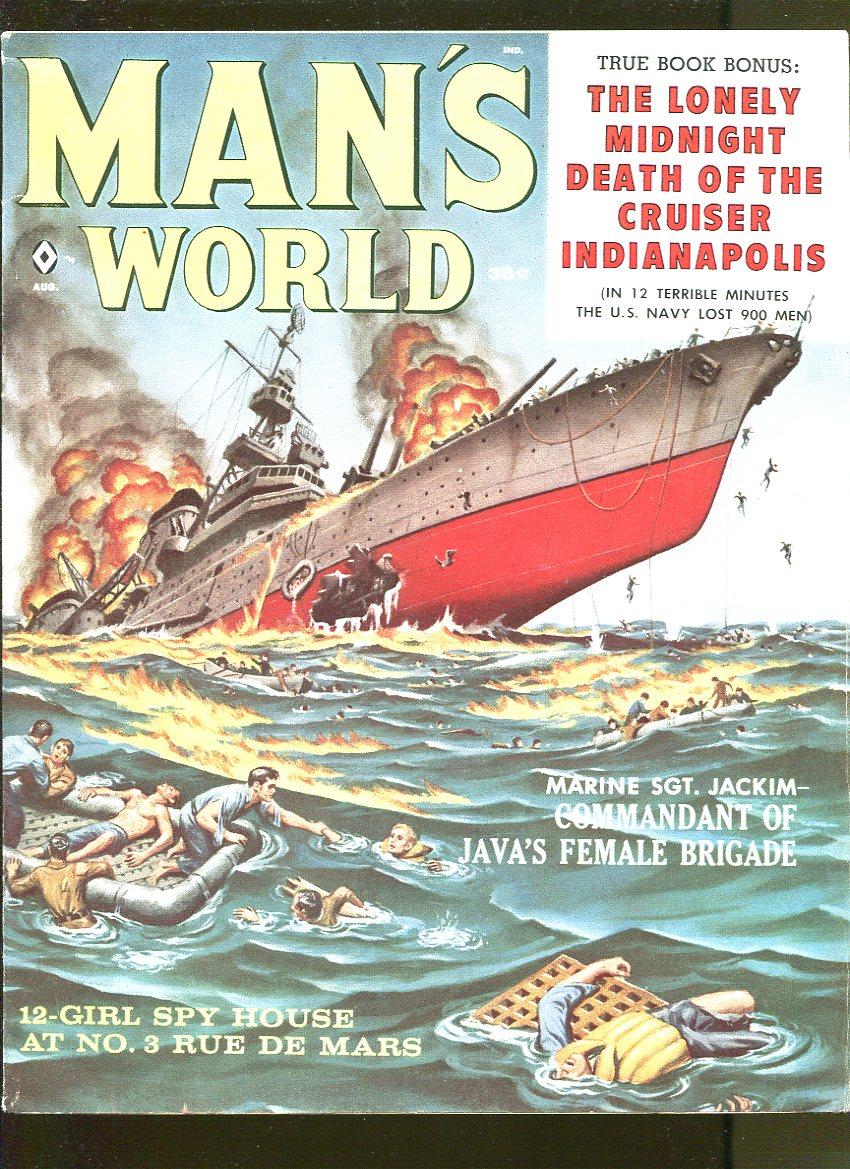MAN'S WORLD AUGUST 1959-JACK RICHARD-AL ROSSI-CRIME-CHEESECAKE-FN+ Fine