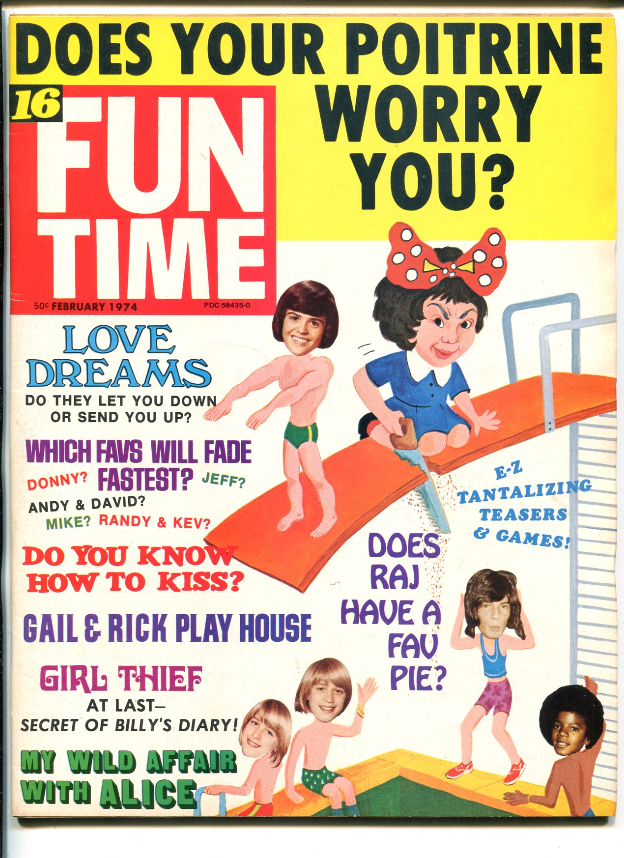 FUNTIME 02/1974-ALICE COOPER-DONNY OSMOND-COMIC STRIPS-PUZZLES-vf As New