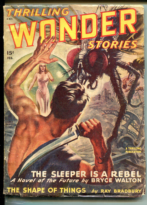 THRILLING WONDER STORIES 02/1948-GIANT SPIDER-RAY BRADBURY-BERGEYPULP-vg Very Good