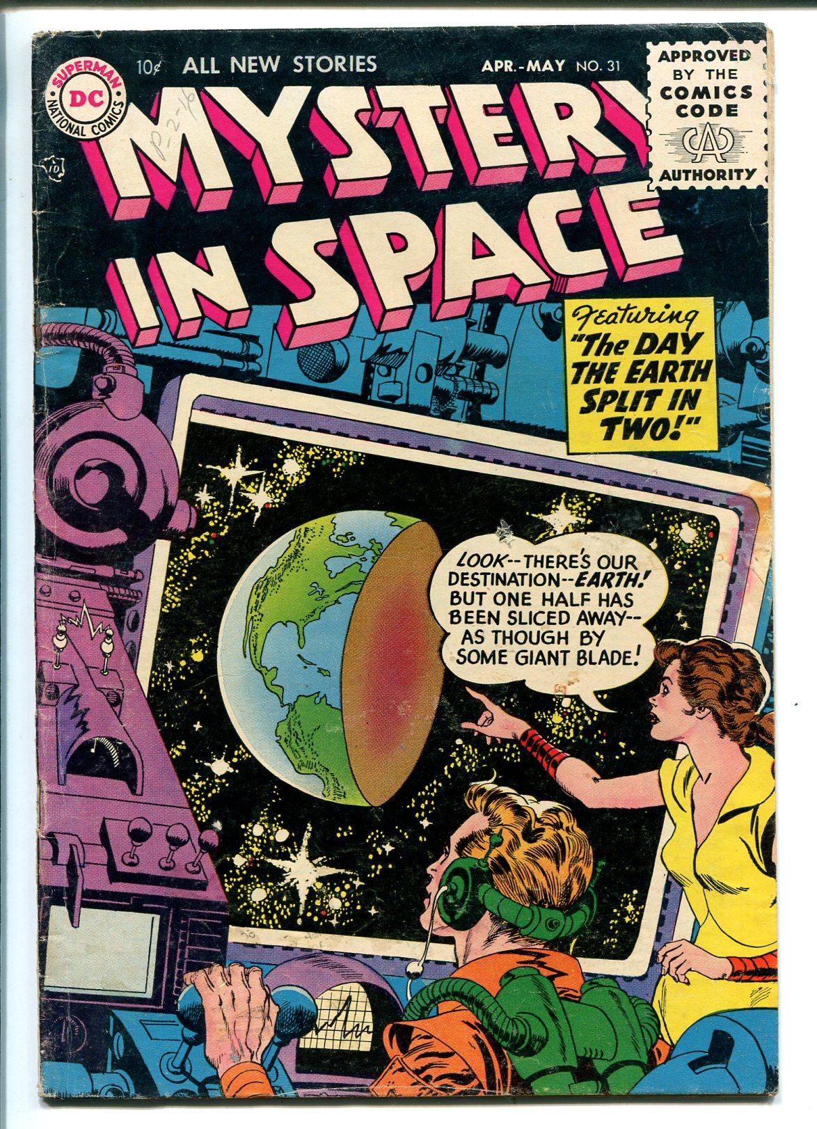 MYSTERY IN SPACE #31 1956-DC-SCI-FI-HORROR-EARTH SPLIT IN TWO-vg Very Good