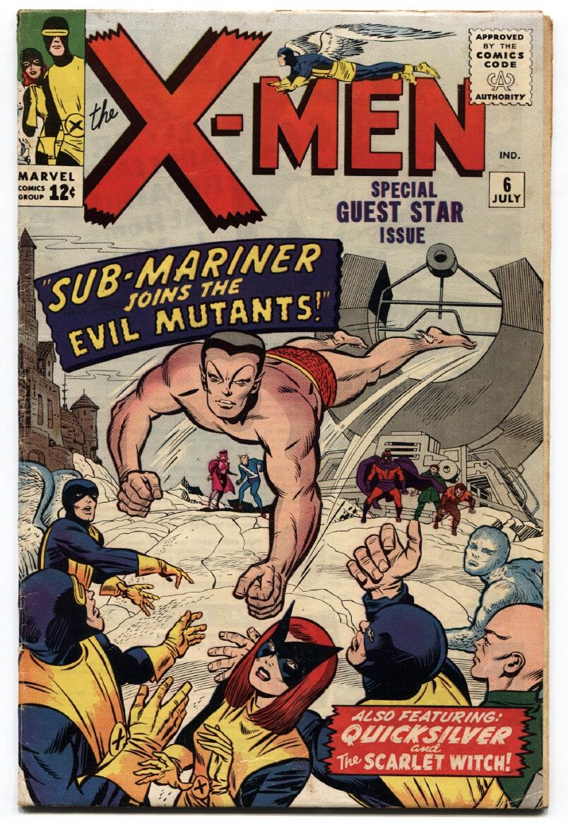 X-Men #6-1964-Sub-Mariner crossover-Early Silver-Age Marvel Fine