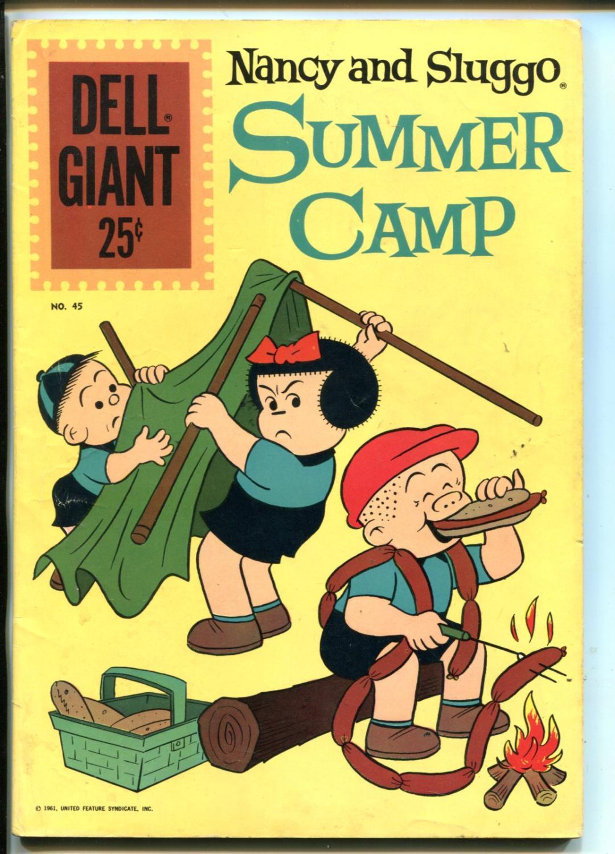 NANCY AND SLUGGO SUMMER CAMP #45-1961-DELL-COMICS-PUZZLES-GAMES-fn Fine